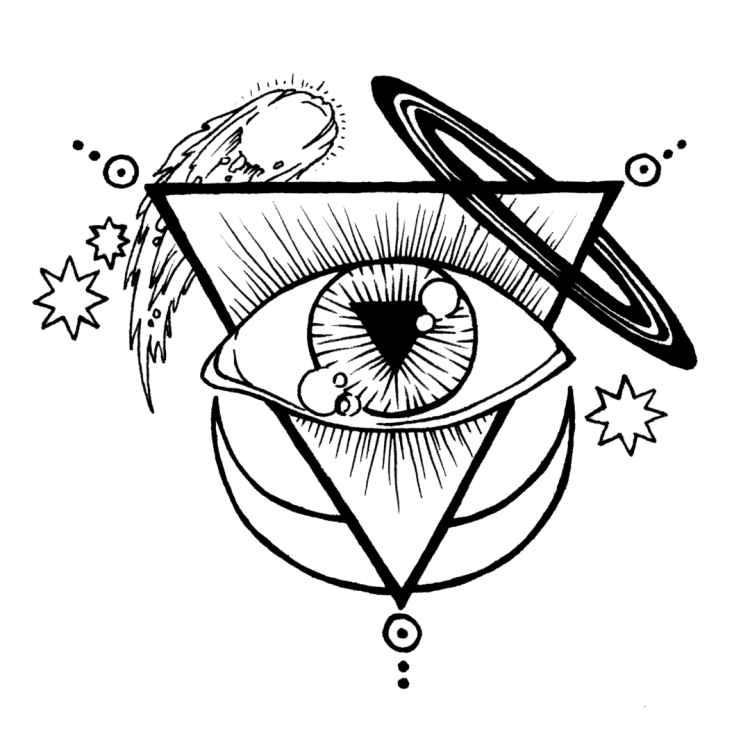 Our sigil and logo: a black and white line drawing of a large eye enclosed within a triangle pointing downward. On the top left of the triangle is a comet and two eight pointed stars. On the top right point of the triangle is are the rings of saturn. On the bottom of the triangle is a crescent moon opening upwards. Each point also has a small sun glyph with three dots moving out from the center.
